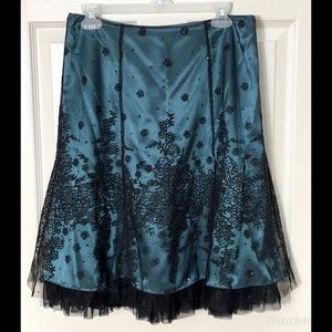 Adrianna Papell Teal Embroidered Formal Skirt Sz 8